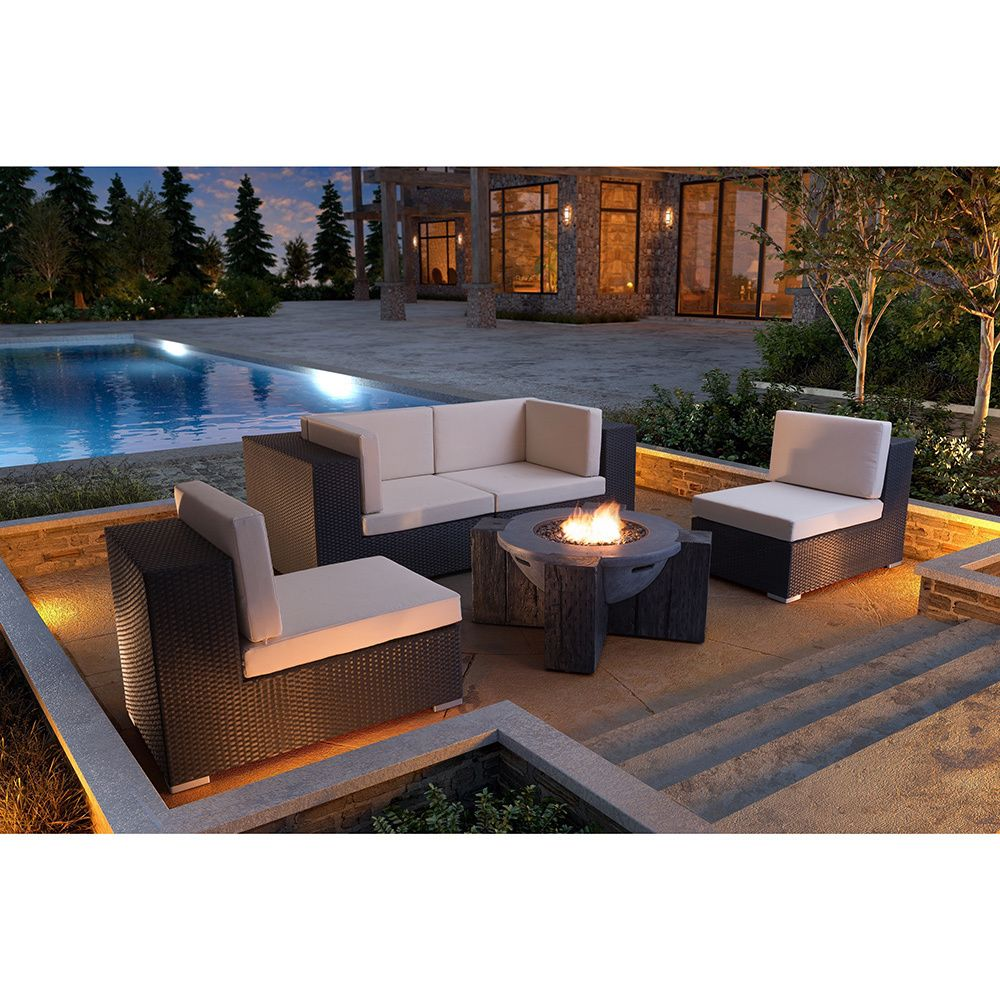 The modern styled hades fire pit features a large round cylinder sleek design made with a faux wood block and concrete fiber construction