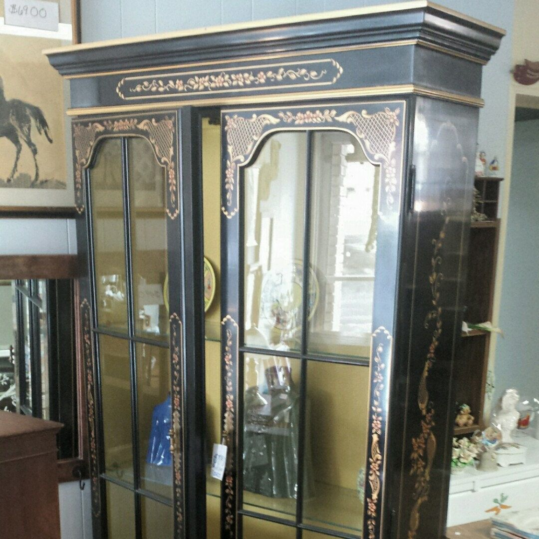 Chinoiserie China Cabinet Black Lacquer China Cabinet Painted