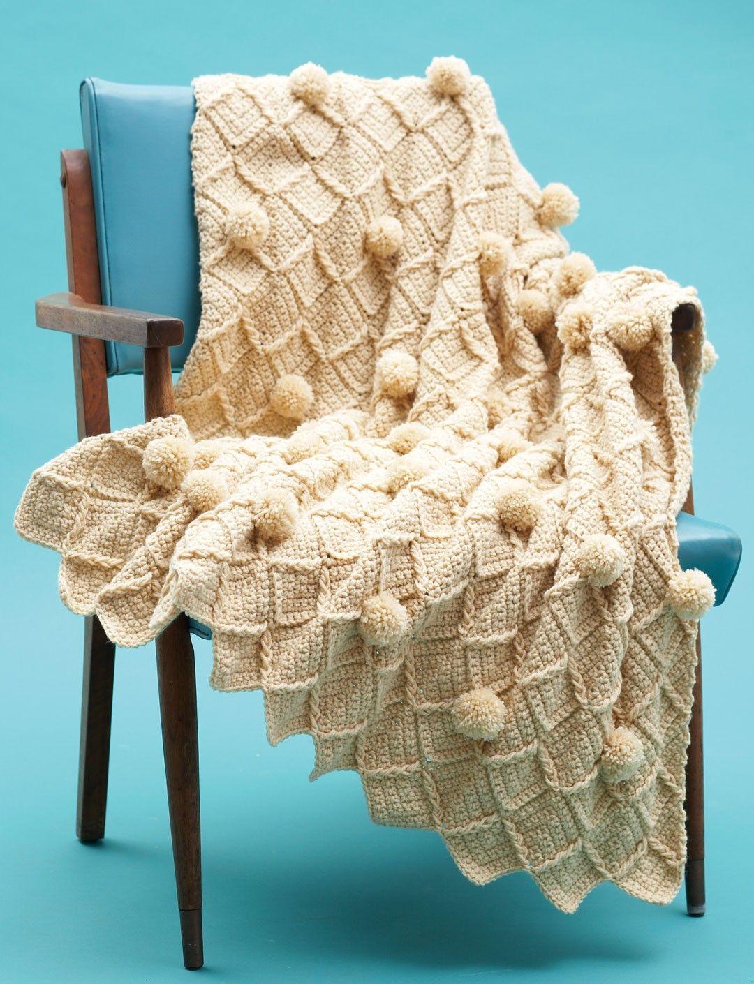 Yarnspirations.com - Bernat Lattice Pompom Blanket - Patterns  | Yarnspirations