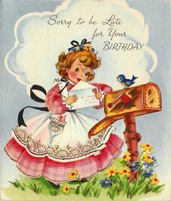 Shop Vintage Belated Birthday Greeting Card Created By RetroMagicShop.