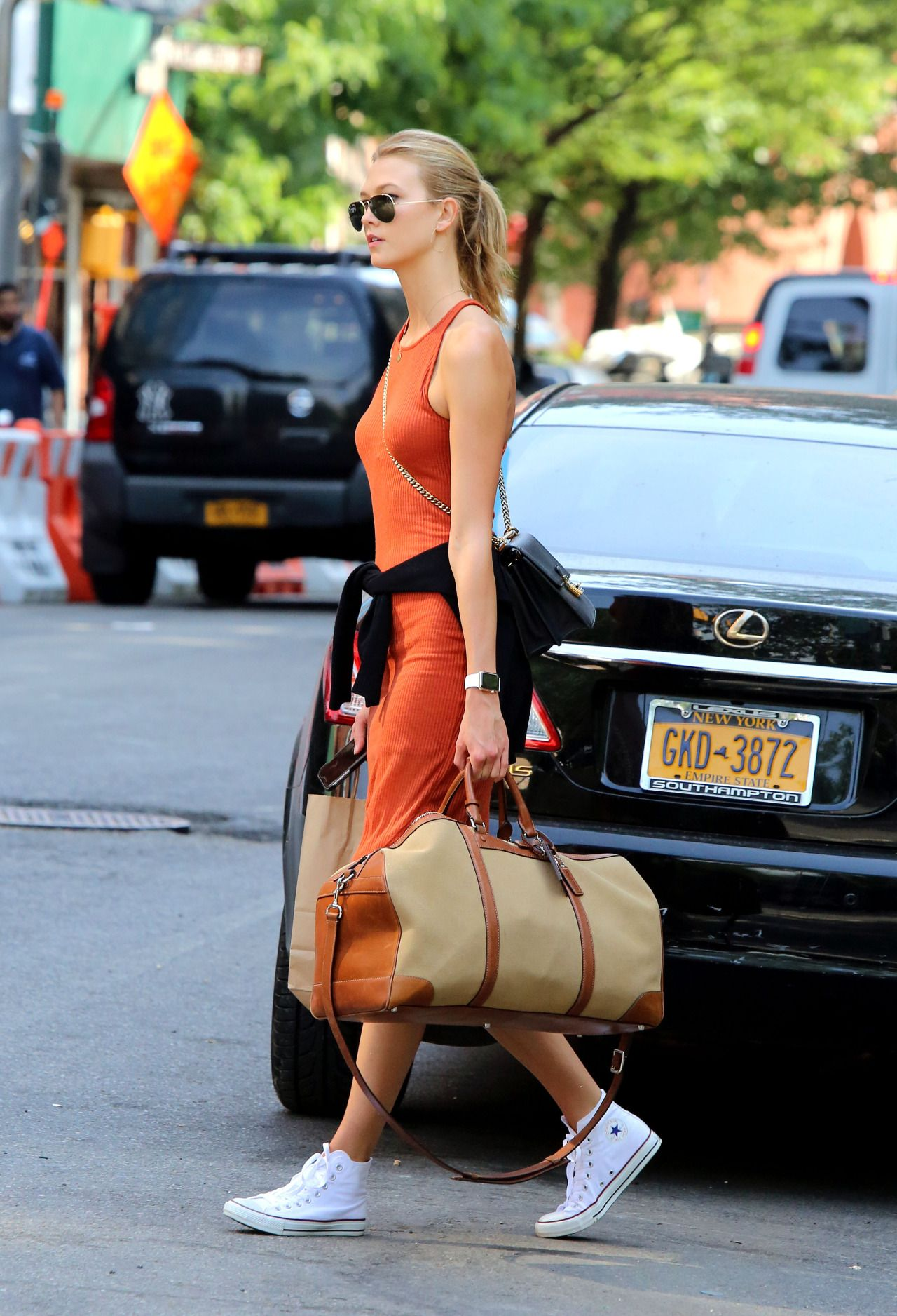 Ribbed Orange Tank Dress With White Converse Hi Tops And