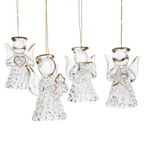 4 Pack Glass Angel Tree Decorations At UK