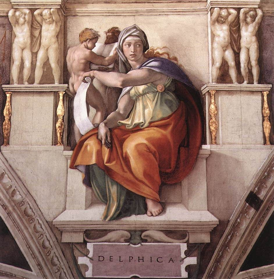 The Delphic Sibyl Sistine Chapel Ceiling And Altar Wall Frescoes