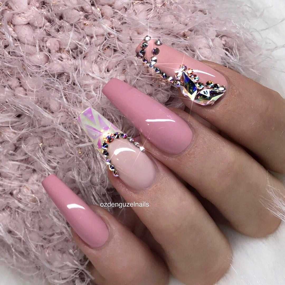 Pink coffin nail designs Pinterest @Trulynessa89 | Long ...
