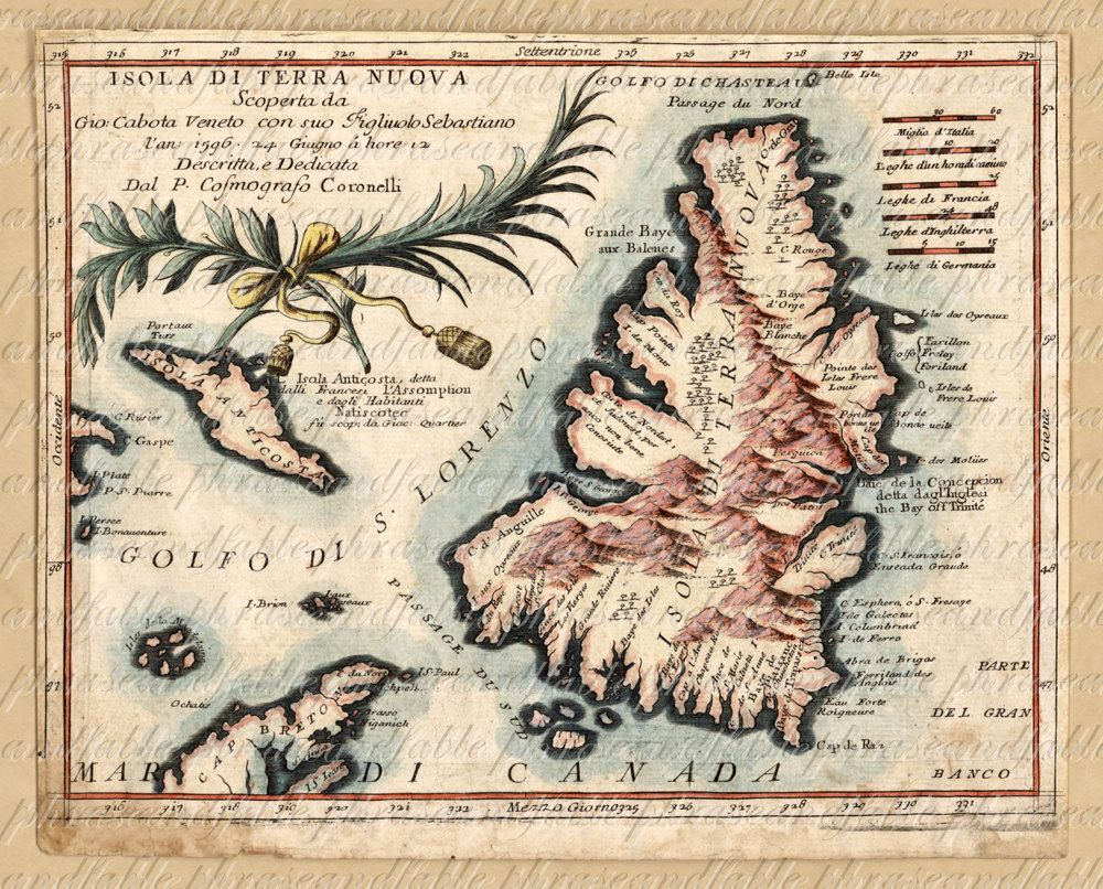 Map of newfoundland from 1600s ancient new world cartography map of newfoundland from 1600s ancient new world cartography exploring island sailing vintage canada digital image gumiabroncs Images