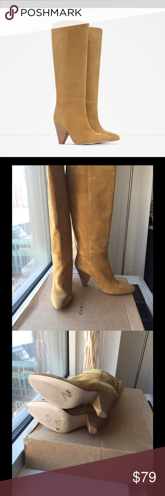 "Zara tan suede knee boots with cone heel Tan suede boot, 3"" heel.  No signs of wear on the suede.  Minor signs of wear on the bottom from the store. Fits 8.5 to 9 but Shoe states 40. Zara Shoes Heeled Boots"