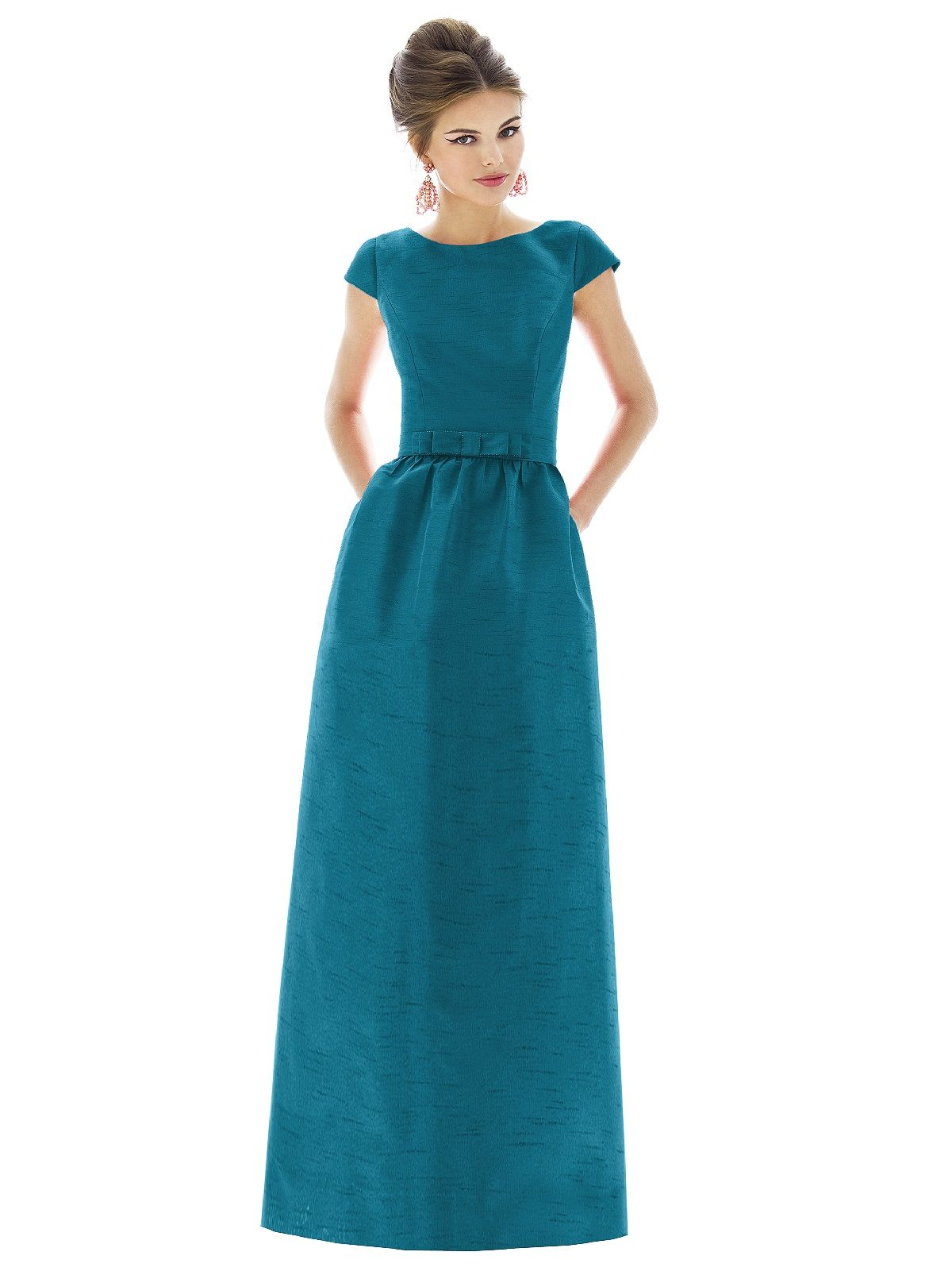 Alfred sung style d formal gowns and bow belt