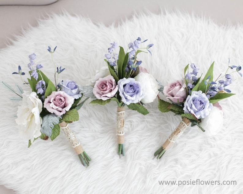 Simple Light Purple Paper Bridesmaid Mini Flower Bouquet Etsy
