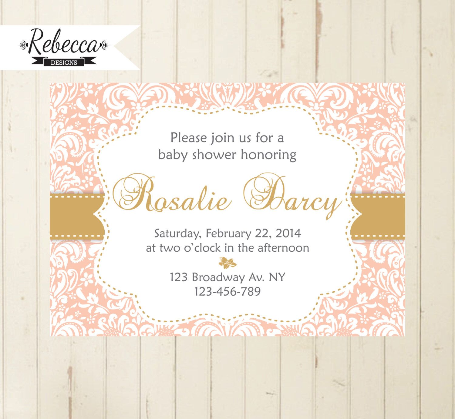 tea party invitation brunch invitation coral and gold baby Shower ...