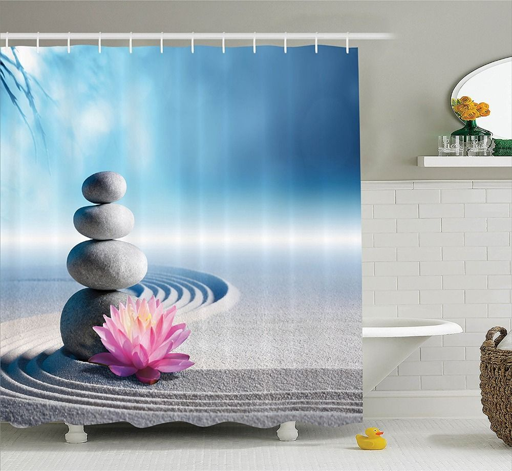 Shower Curtain Spa Decor Stones And Lotus Flower Over Sand Printing ...