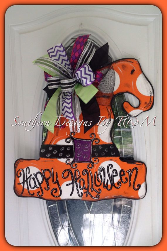 Hey, I found this really awesome Etsy listing at https://www.etsy.com/listing/200836784/witches-hat-door-hanger-halloween-door