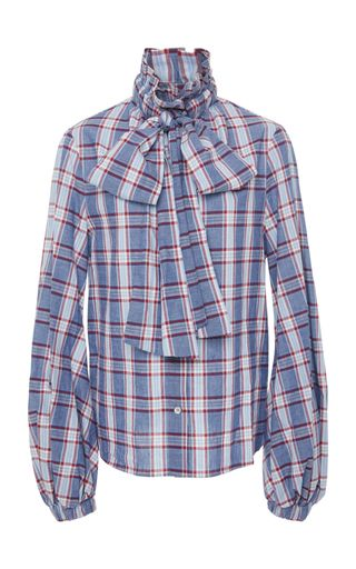 Cheap Shop Offer Best Seller Cheap Price Stella Jean Woman Pussy-bow Checked Cotton Blouse Navy Size 40 Stella Jean Huge Surprise For Sale FTjSwK