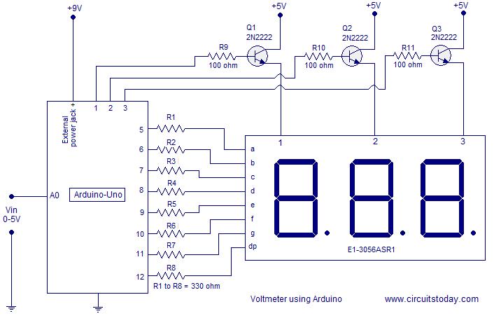 Simple 0 5v Three Digit Voltmeter Using Arduino 50mv Sensitivity Arduino Arduino Projects Simple Arduino Projects