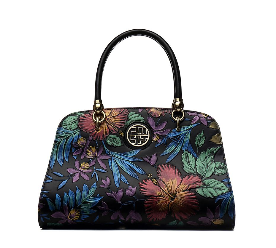 28f575cf945a Luxury Designer Split Leather Women Handbags Embossed Flower Vintage ...