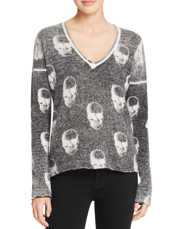 AQUA Cashmere Chaos Skull Cashmere Sweater | My Closet | Pinterest ...