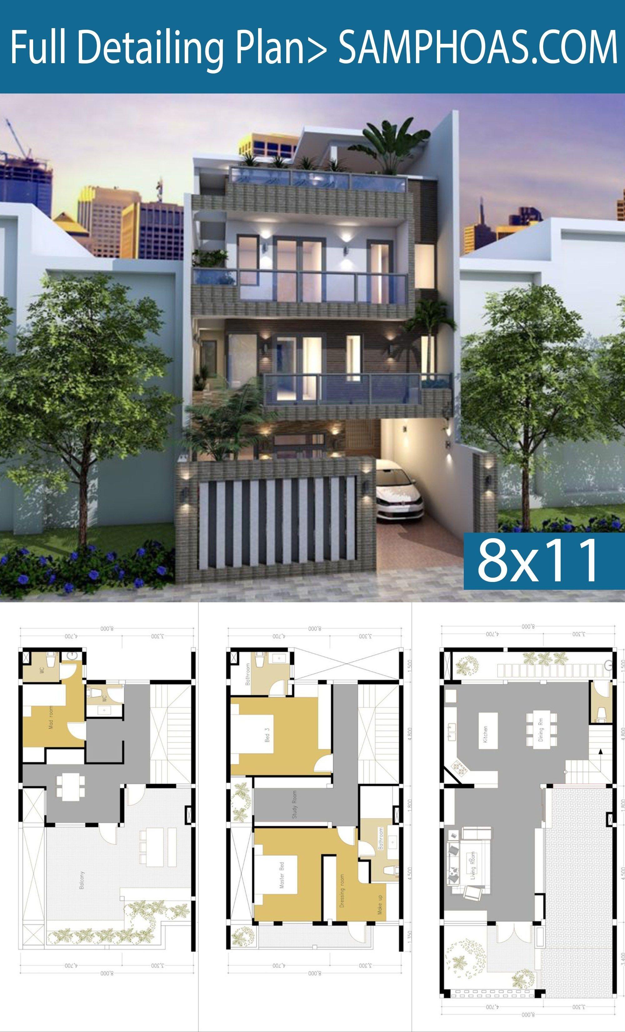 5 Bedroom 4 Story House Plan 8x11m Samphoas Plan Free House Design House Plans Model House Plan