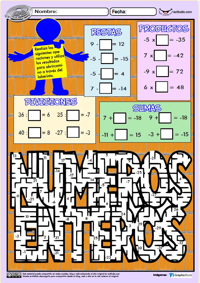 Cálculo de números enteros - Actiludis | ACTIVIDADES y FICHAS PARA ...