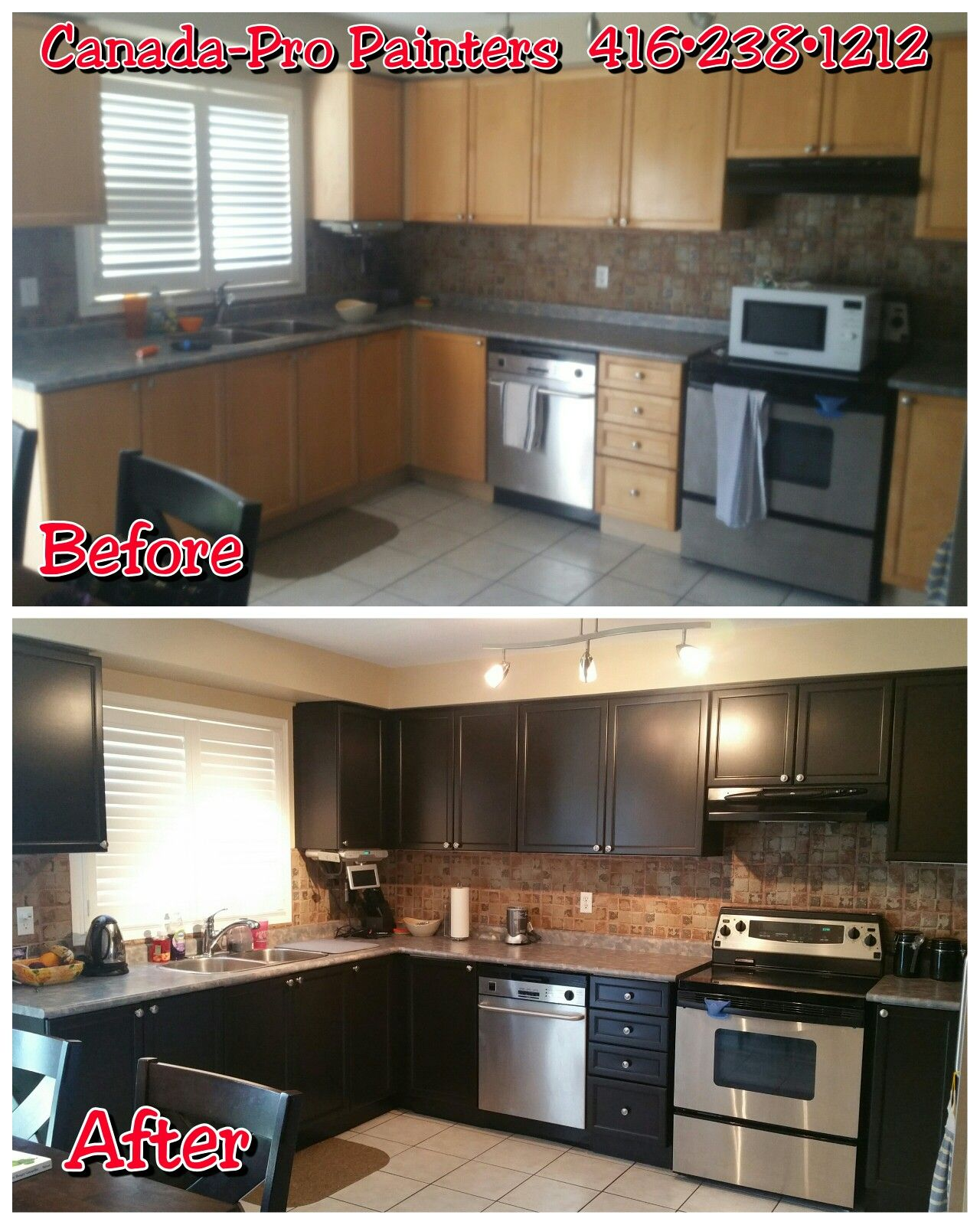 Outdated Kitchen Updated By Spraying With Dark Espresso Lacquer In Satin Finish Refinishing Cabinets Updated Kitchen Interior