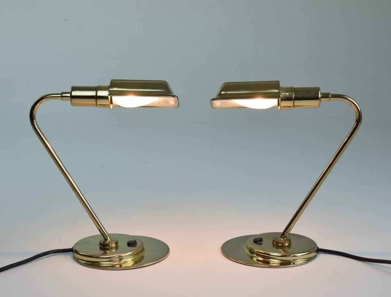 Pair Of Mid Century French Brass Desk Lamps 1960s Brass Desk Lamp Desk Lamps Lamp