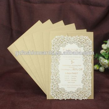 Gold Foiling Double Layer Rose Flower Laser Cut Wedding Invitation