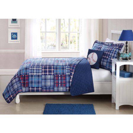 Kids Blue Plaid Patch Quilt Set with Bonus Decorative Pillow, Multicolor
