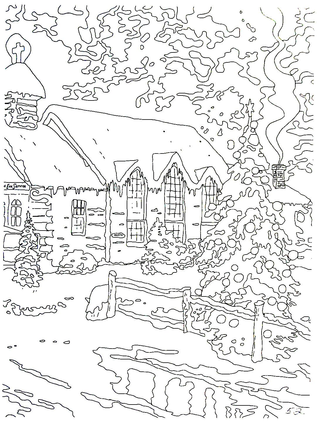 Christmas chapel i thomas kinkade painting coloring book printable page