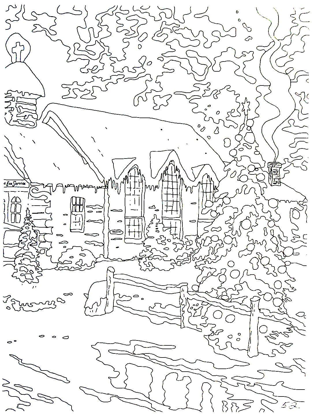 Christmas Chapel I Thomas Kinkade Painting Coloring Book Printable Page Christmas Coloring Pages Coloring Books Abstract Coloring Pages