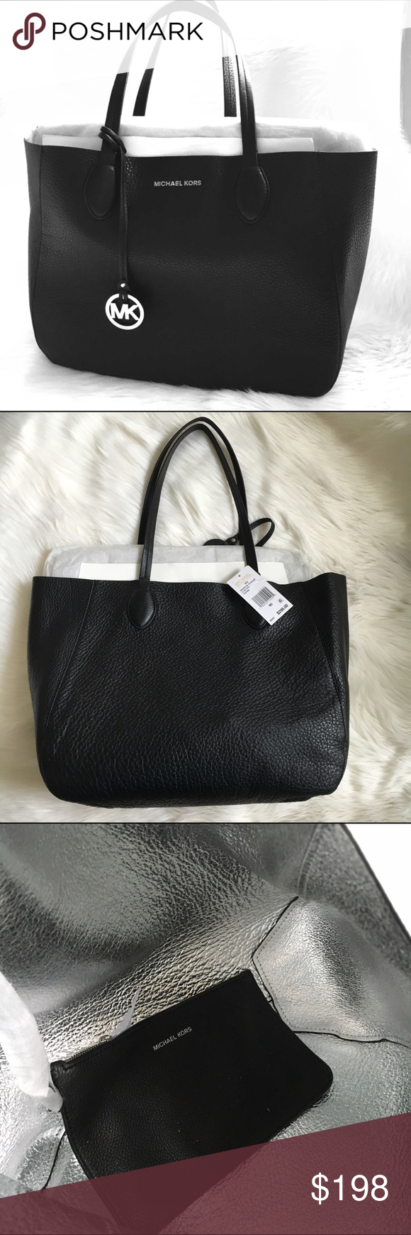 MICHAEL KORS tote Black leather tote with Silvertone hardware. New! Authentic 🚫trades🚫 Michael Kors Bags Totes