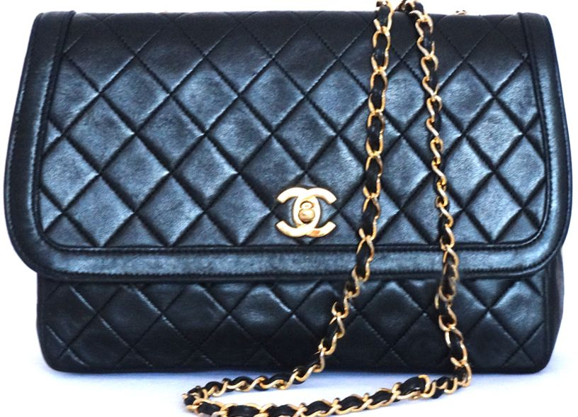 Chanel Designer Handbags Black Matelasse Quilted Leather Shoulder Crossbody Bag Gold Chain Purse