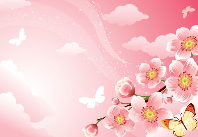 Free Flower Background Vector With Cherry Blossoms. There