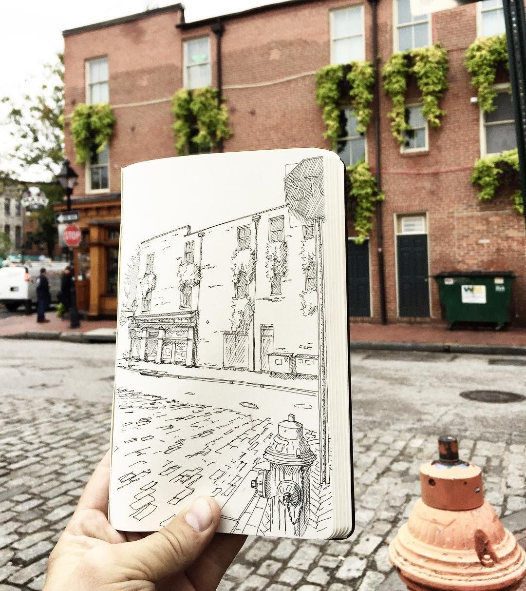 Like the calm before the storm that is the #fellspointfestival, @maxstaphouse. #fellspoint #baltimore #urbansketchers