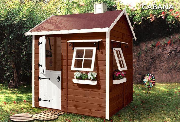 Casa de madera para niños CABAñA Wooden playhouse Pinterest - casitas de jardin para nios