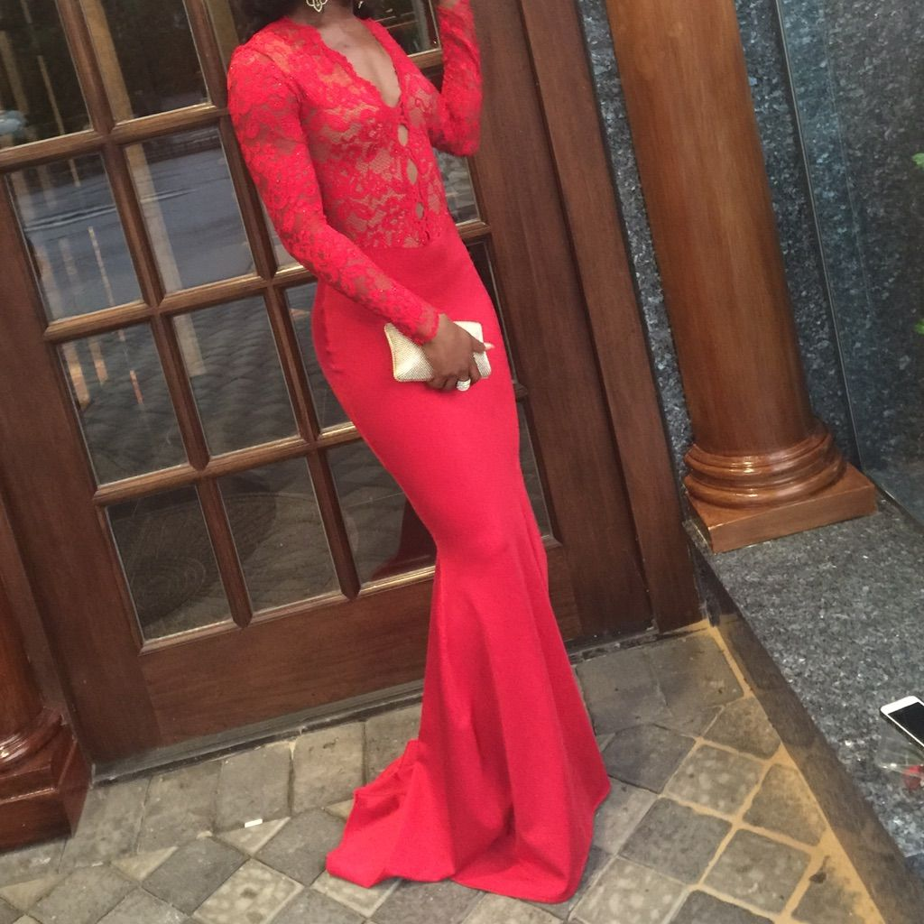Red long sleeve lace mermaid prom dress products