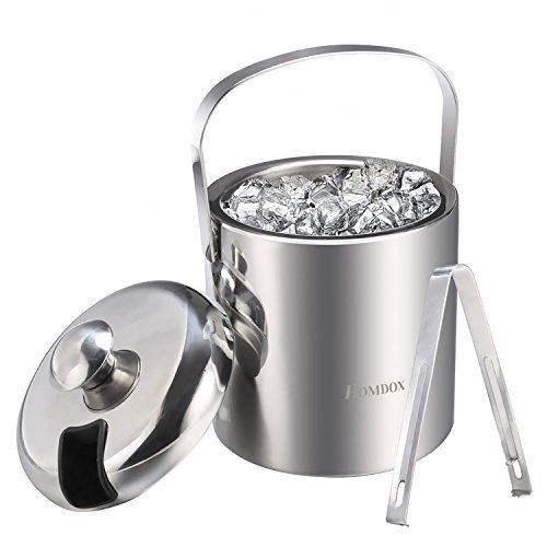 double wall insulated ice buckets stainless steel with tongs lid
