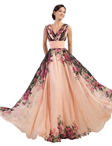 a8f08b0bb7967 Amazon.com: GRACE KARIN Floral Print Graceful Chiffon Prom Dress for ...