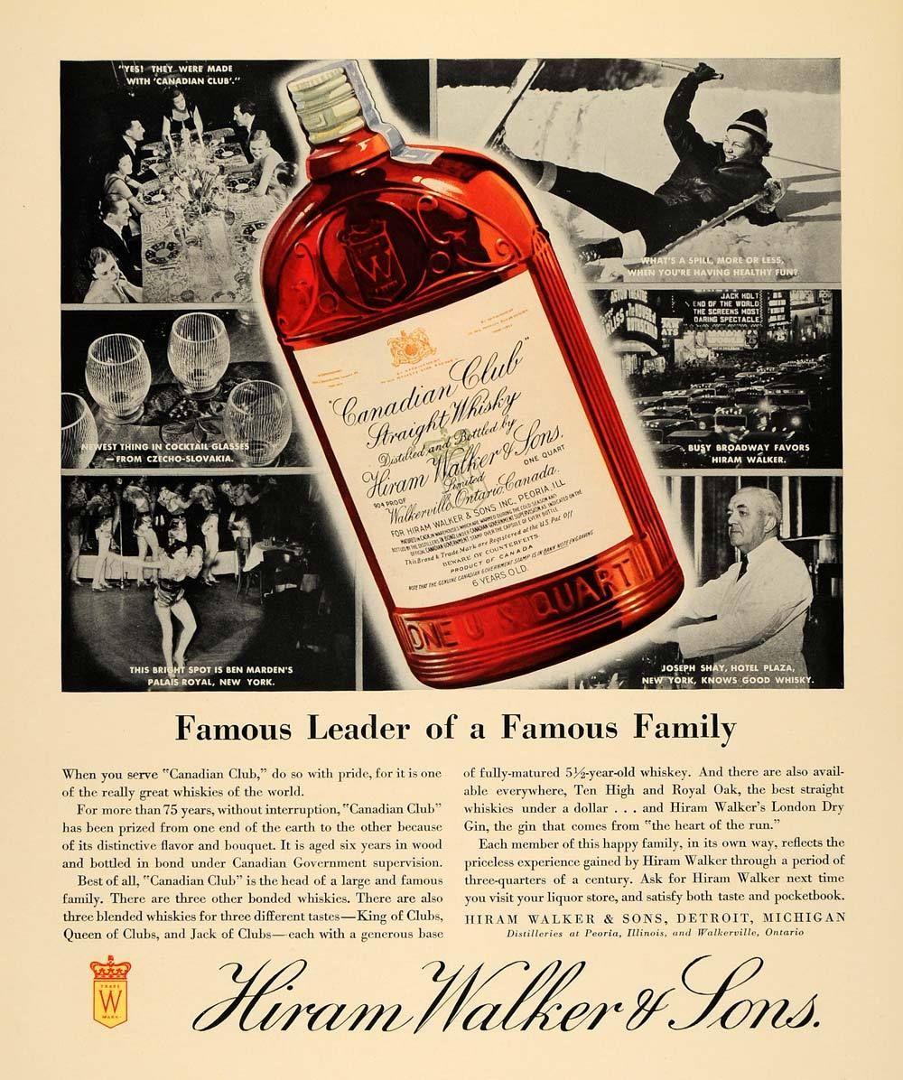 1935 Ad Hiram Walker Son Canadian Whisky Palais Royal Original F3a Hiram Walker Whisky Canadian Club Whisky