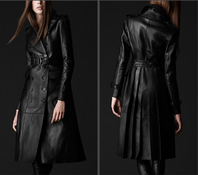leather long coat women - Google Search | Leather | Pinterest ...
