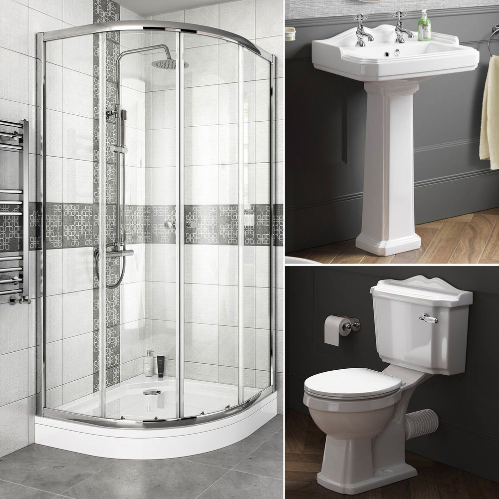 Complete Bathroom Suite Quadrant Shower Enclosure With Toilet and ...