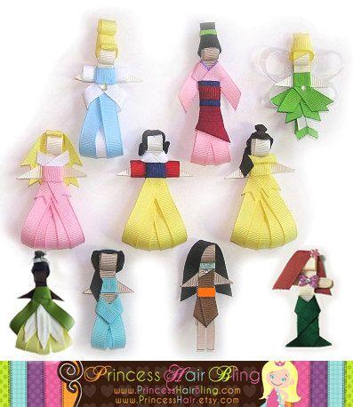 Disney princesses ribbon hairclips -- Cute!