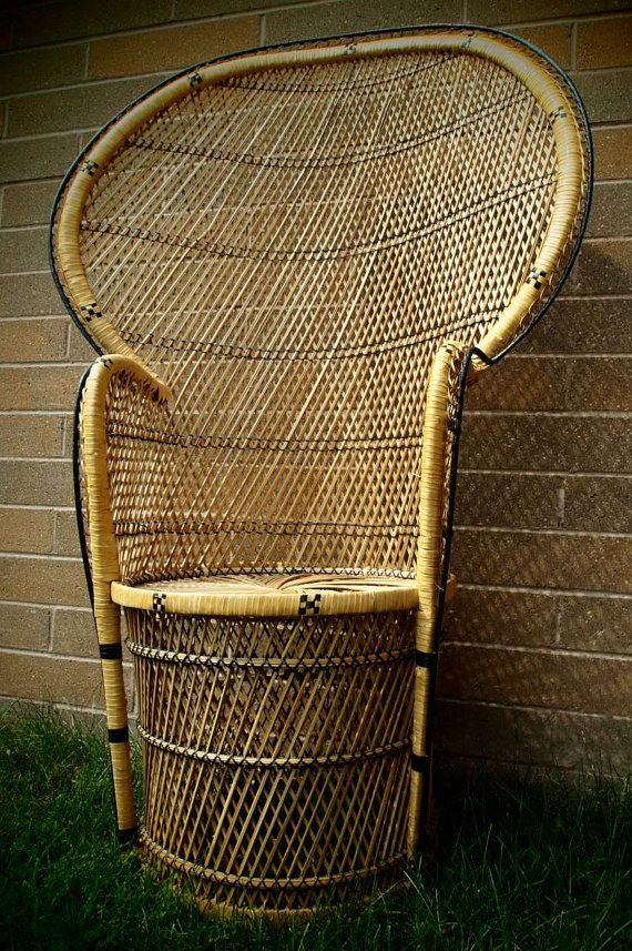 Fan Back Wicker Chair Wingback Accent Blue High Rattan Peacock By Theplumvintage