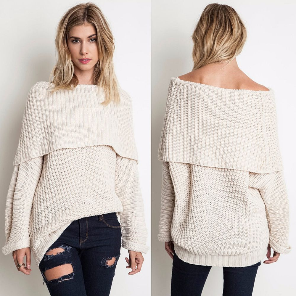 UMGEE USA Aspen Cozy Fold Over Chunky Cable Knit Sweater Oversized ...
