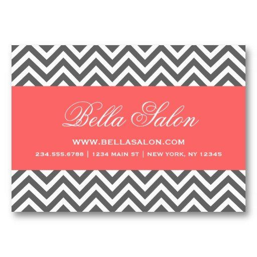 Charcoal Gray & Coral Modern Chevron Stripes Business Card Template