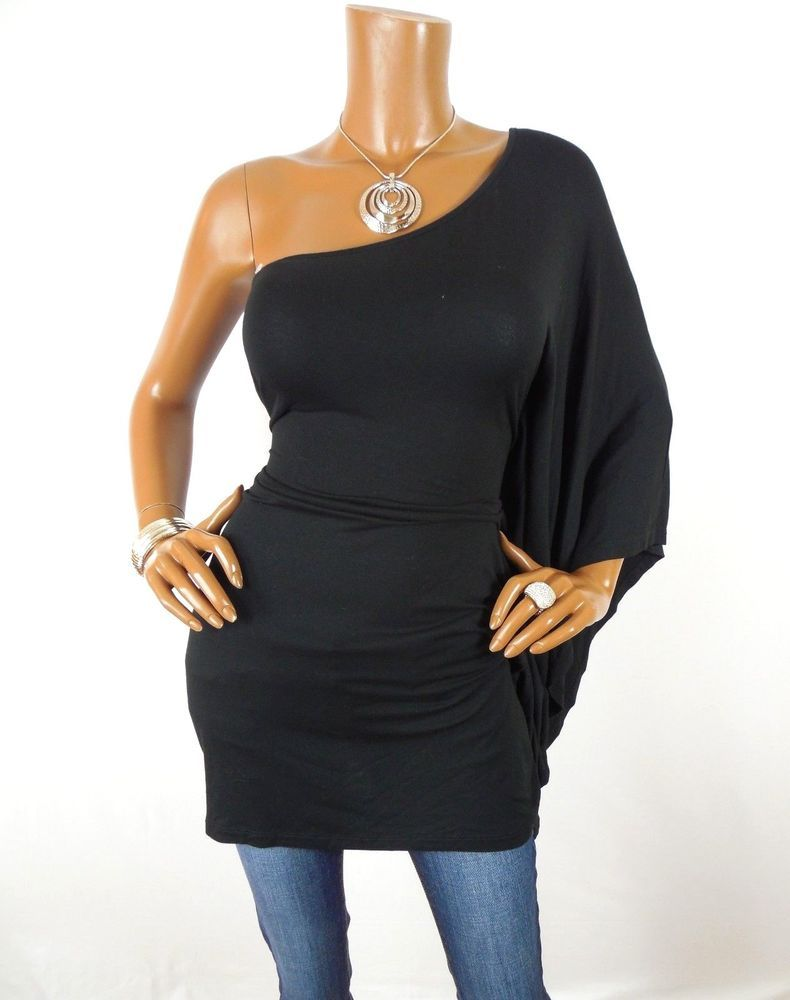 d3d43101617735 EXPRESS Womens Top M Long Black Tunic Shirt One Shoulder Blouse Casual  Stretch  Express  Blouse  Casual