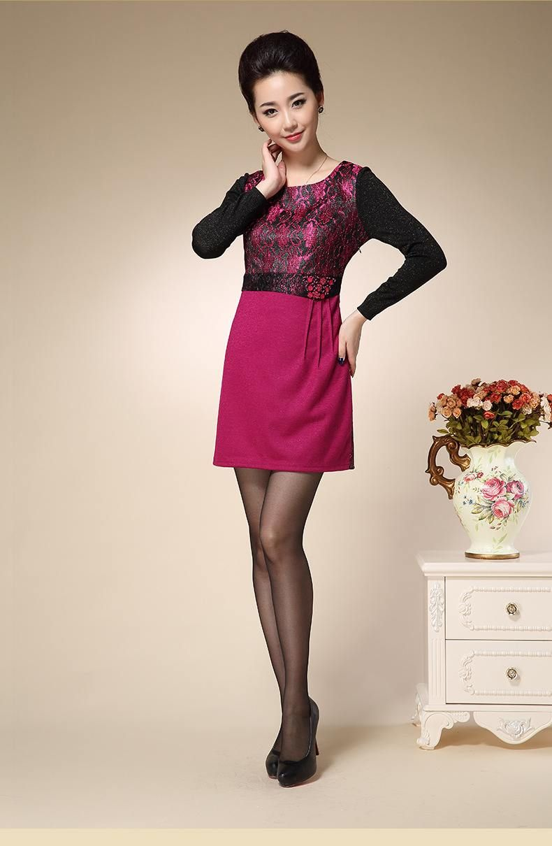 High Quality Long Sleeve Elegant Rosy Embroidered Slim Fit Formal
