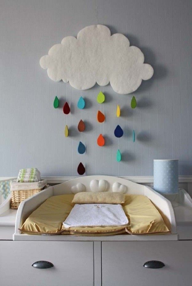 So cute and simple! Use felt or foam (if you want to get elaborate, you could make the cloud with a pillow effect, stuffing it and gluing or stitching the edges) and use fishing line to hang the 'raindrops'. Would be great to use in a classroom, too!