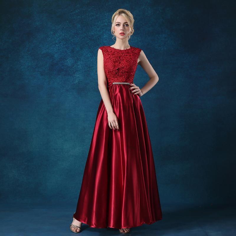 Long Evening Dress 2017 Luxury Lace Satin Banquet Formal Dress Plus ...