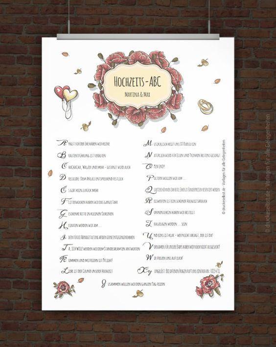 Kostenloses Hochzeits Abc Zum Ausdrucken Hochzeits Abc Hochzeitsbuch Gastebuch Hochzeit Gestalten