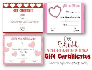 valentines day gift certificates which can be personalized using the free certificate maker instant download with no need to register