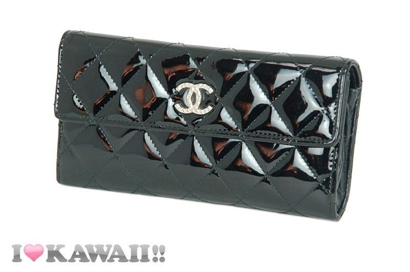 Auth CHANEL Black Patent Leather Matelasse Brilliant Long Purse Wallet Free Ship