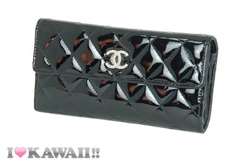 Auth CHANEL Black Patent Leather Matelasse Brilliant Long Purse Wallet Free Ship